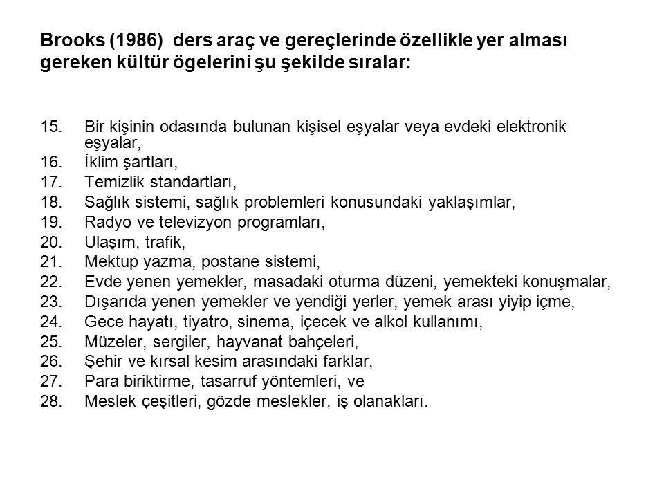 Brooks (1986) ders araç ve gereçlerinde özellikle yer alması gereken kültür ögelerini şu şekilde sıralar:
