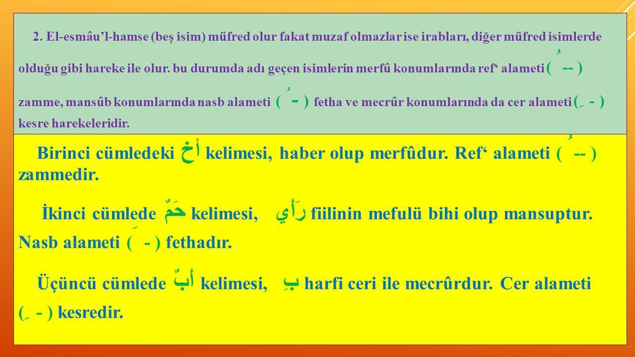2. El-esmâu'l-hamse (beş isim) müfred olur fakat muzaf olmazlar ise irabları, diğer müfred isimlerde olduğu gibi hareke ile olur. bu durumda adı geçen isimlerin merfû konumlarında ref' alameti ( ُ-- ) zamme, mansûb konumlarında nasb alameti ( ُ- ) fetha ve mecrûr konumlarında da cer alameti ( ِ - ) kesre harekeleridir.