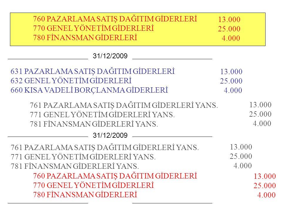 760 PAZARLAMA SATIŞ DAĞITIM GİDERLERİ 770 GENEL YÖNETİM GİDERLERİ