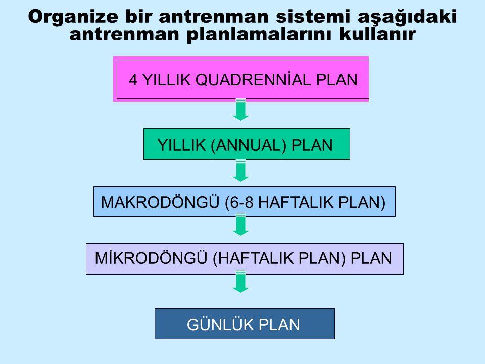 Organize bir antrenman sistemi aşağıdaki antrenman planlamalarını kullanır