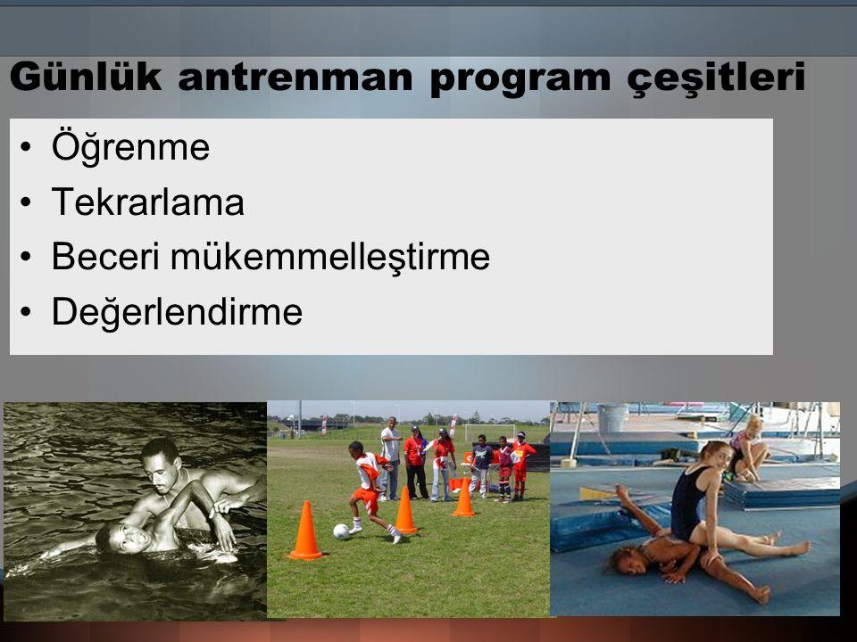Günlük antrenman program çeşitleri
