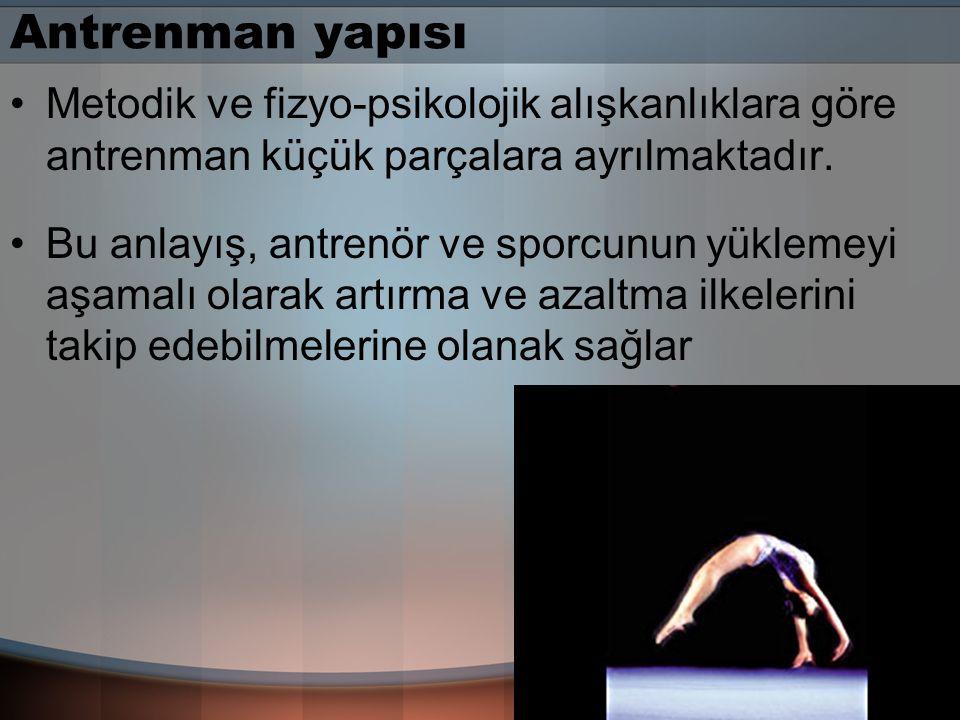 Antrenman yapısı Metodik ve fizyo-psikolojik alışkanlıklara göre antrenman küçük parçalara ayrılmaktadır.
