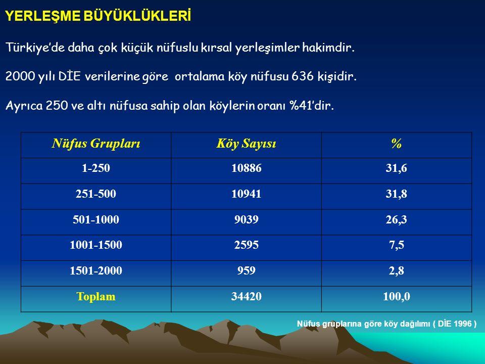 Nüfus Grupları Köy Sayısı %