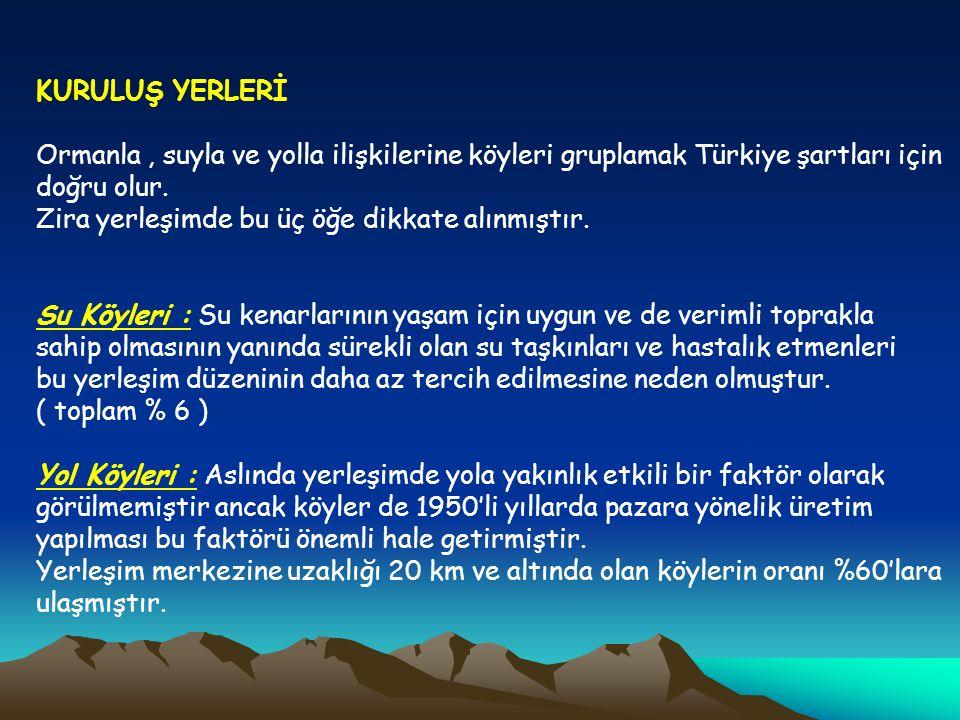 KURULUŞ YERLERİ Ormanla , suyla ve yolla ilişkilerine köyleri gruplamak Türkiye şartları için doğru olur.