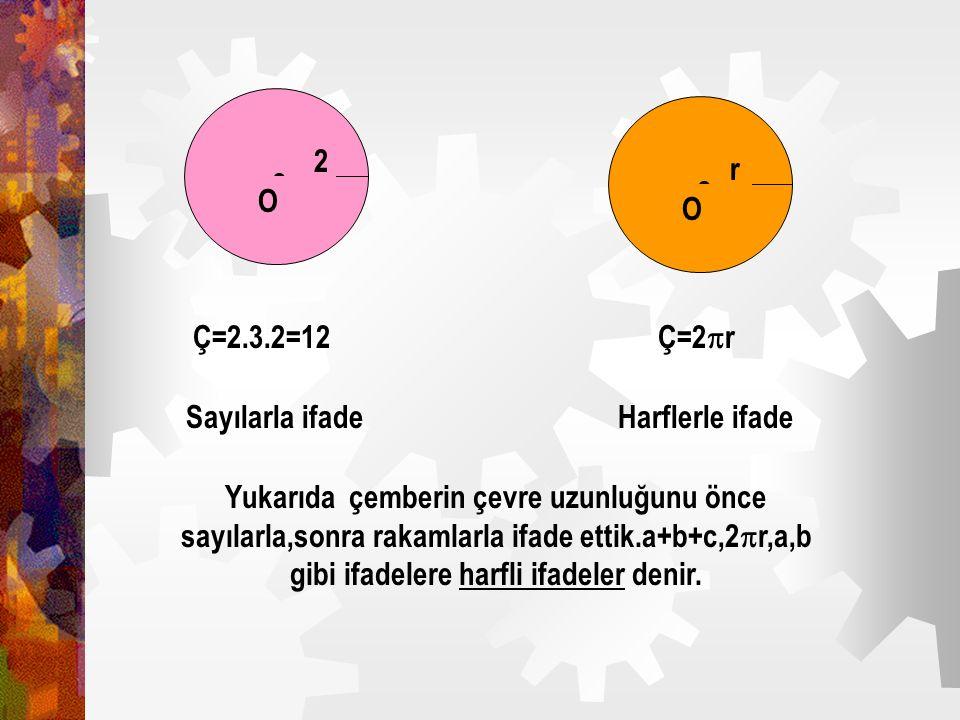  O. 2.  O. r. Ç=2.3.2=12. Ç=2r. Sayılarla ifade. Harflerle ifade.