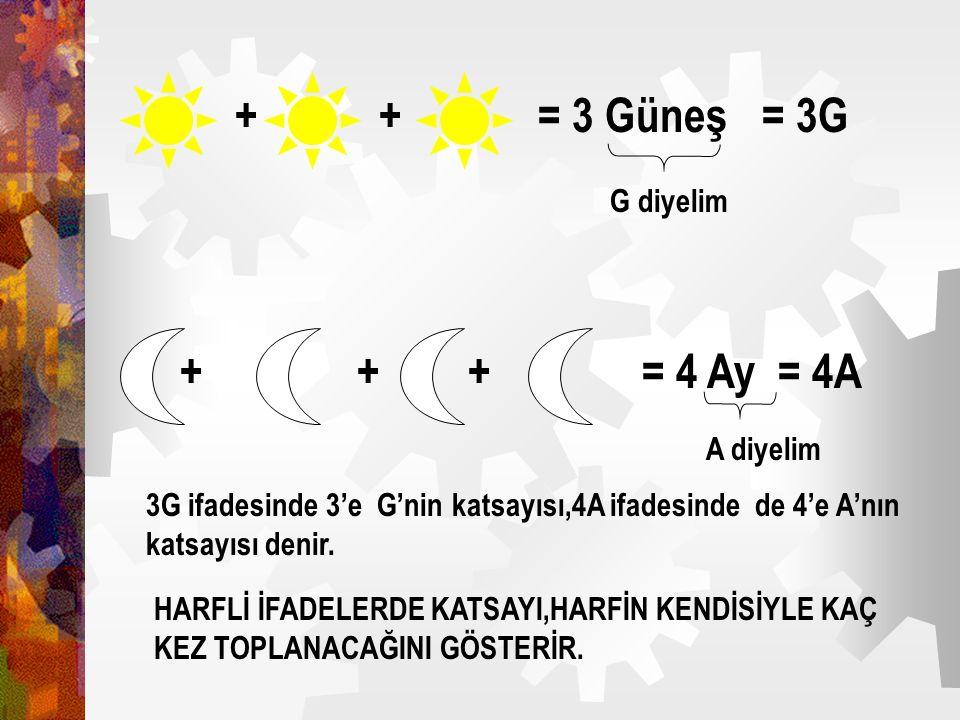 + + = 3 Güneş = 3G = 4 Ay = 4A + + + G diyelim A diyelim