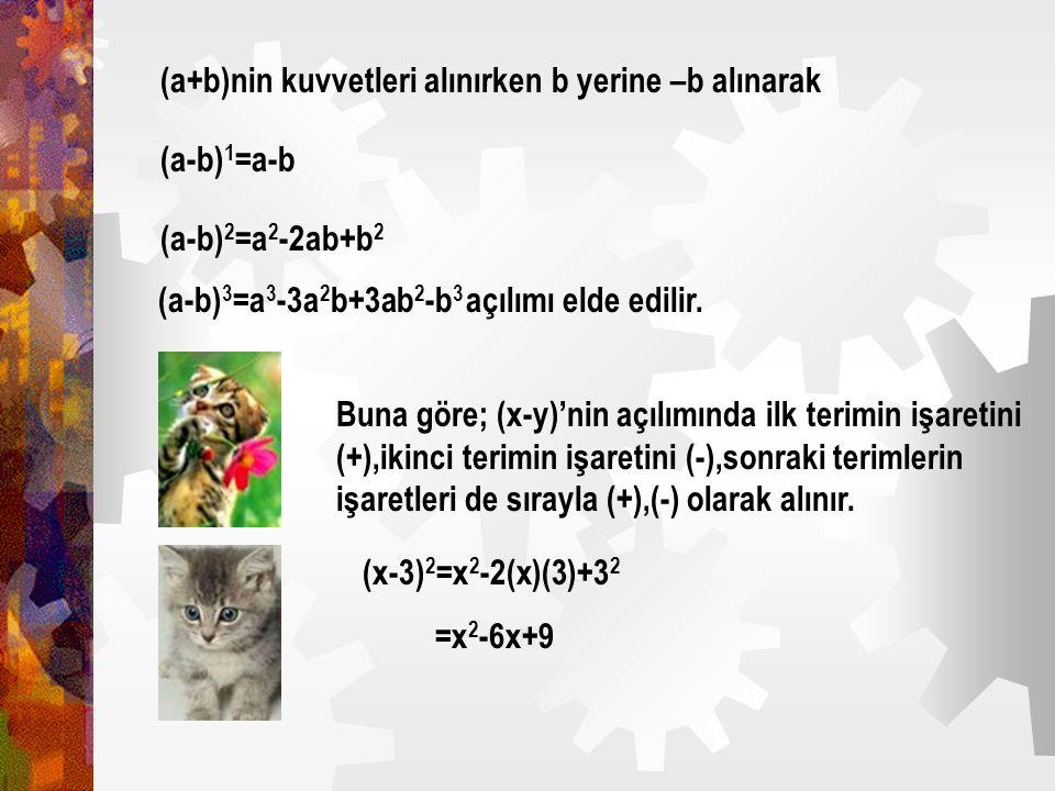 (a+b)nin kuvvetleri alınırken b yerine –b alınarak