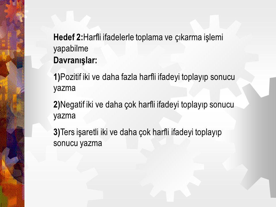 Hedef 2:Harfli ifadelerle toplama ve çıkarma işlemi yapabilme