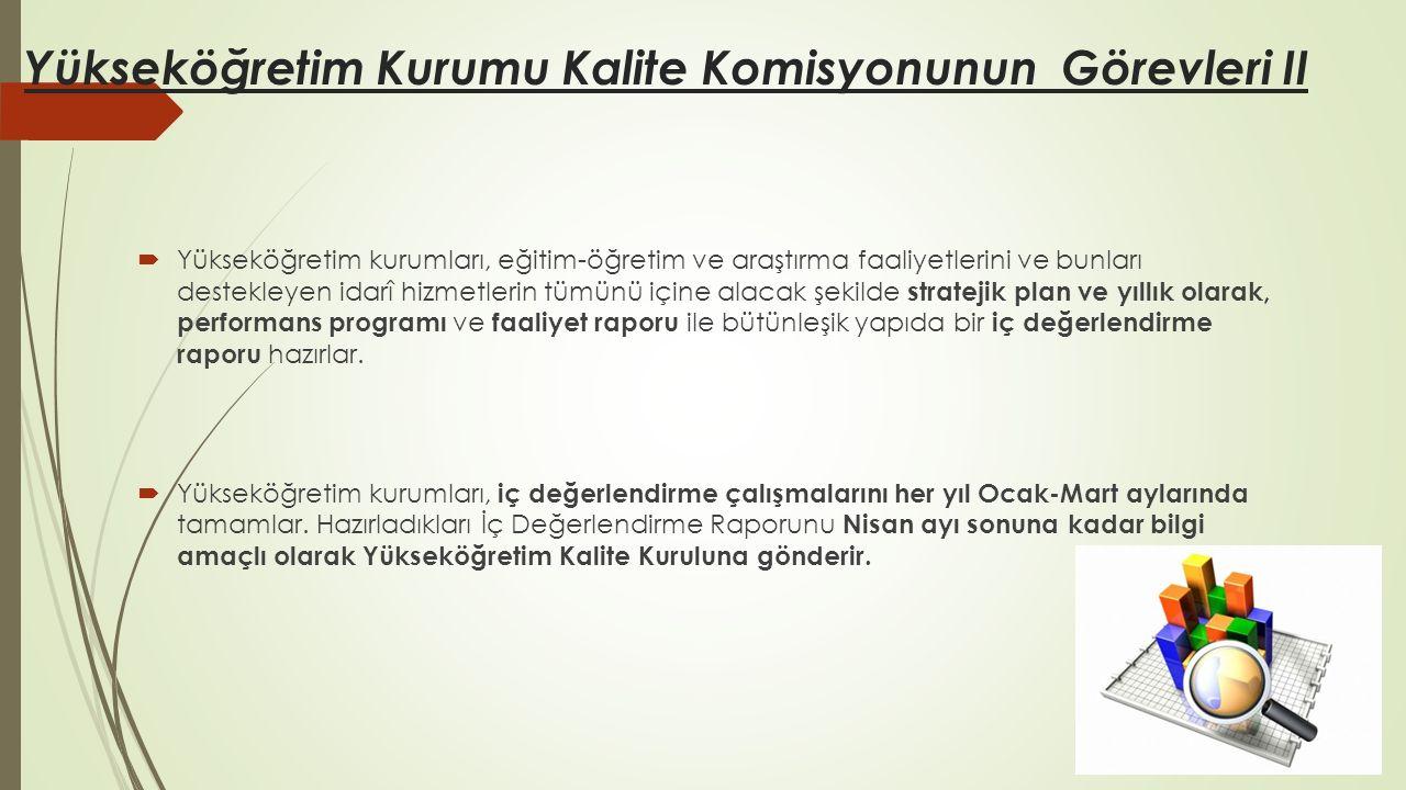 Yükseköğretim Kurumu Kalite Komisyonunun Görevleri II