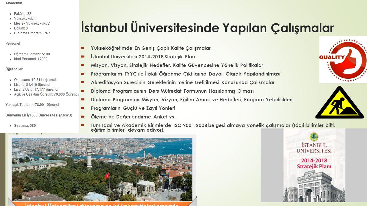 İstanbul Üniversitesinde Yapılan Çalışmalar