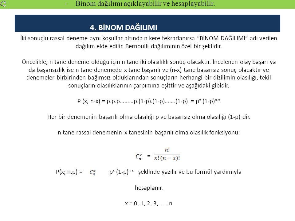 Binom dağılımı açıklayabilir ve hesaplayabilir.