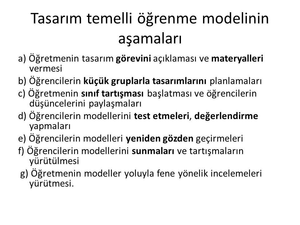 Tasarım temelli öğrenme modelinin aşamaları