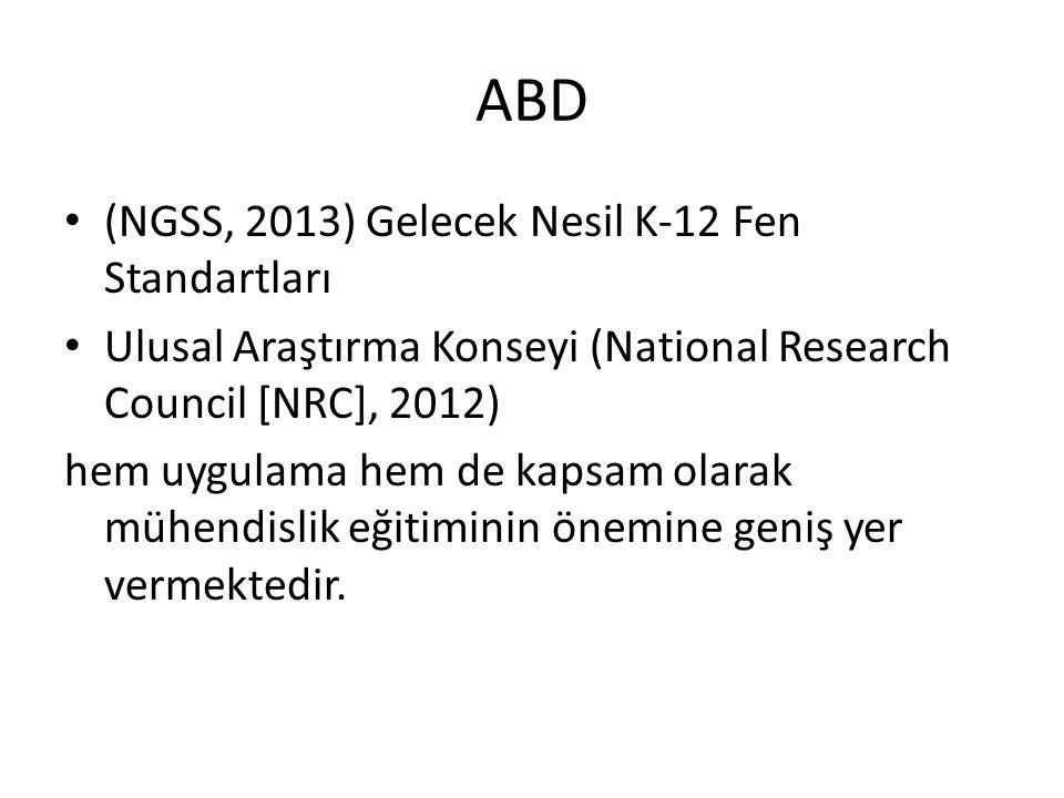 ABD (NGSS, 2013) Gelecek Nesil K-12 Fen Standartları