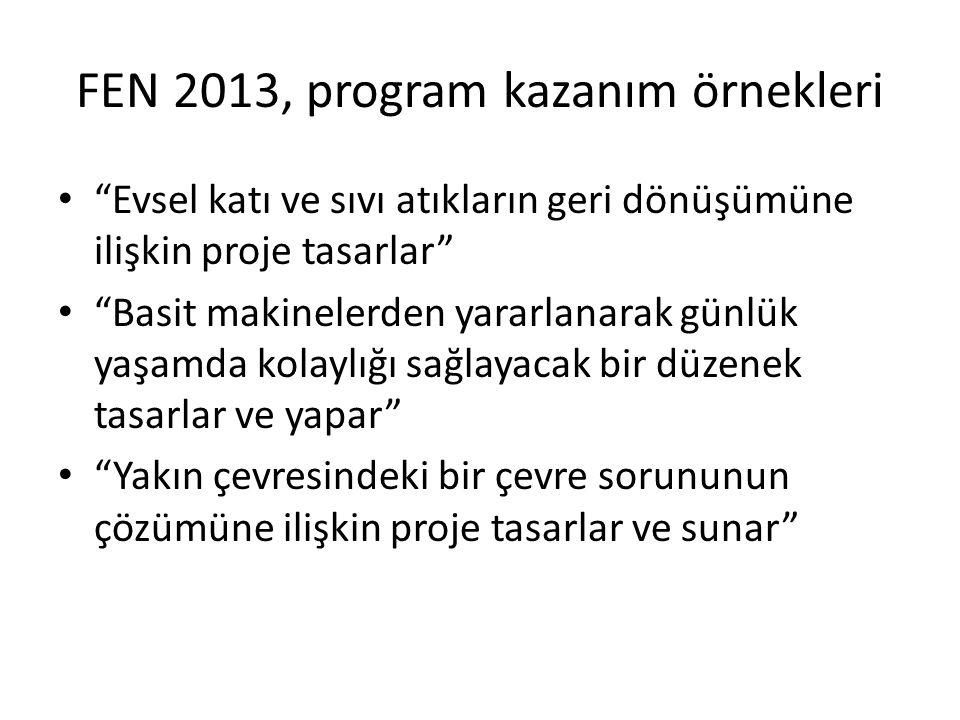 FEN 2013, program kazanım örnekleri