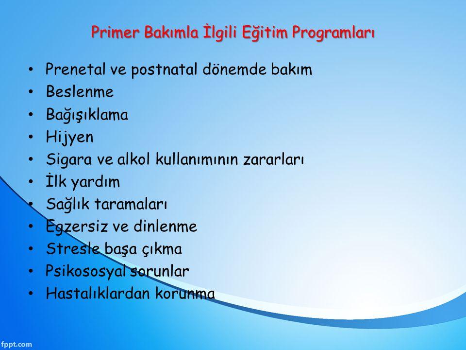 Primer Bakımla İlgili Eğitim Programları