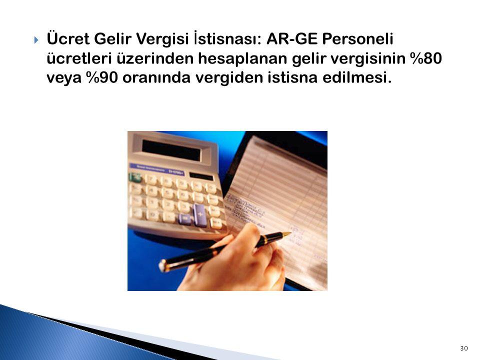 Ücret Gelir Vergisi İstisnası: AR-GE Personeli ücretleri üzerinden hesaplanan gelir vergisinin %80 veya %90 oranında vergiden istisna edilmesi.