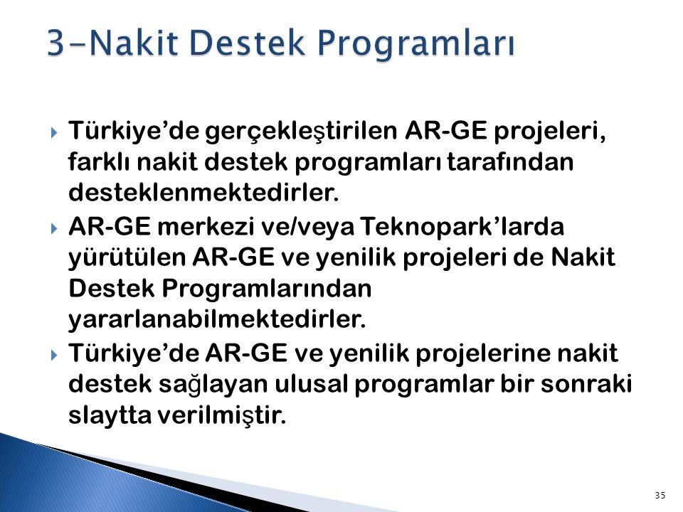 3-Nakit Destek Programları