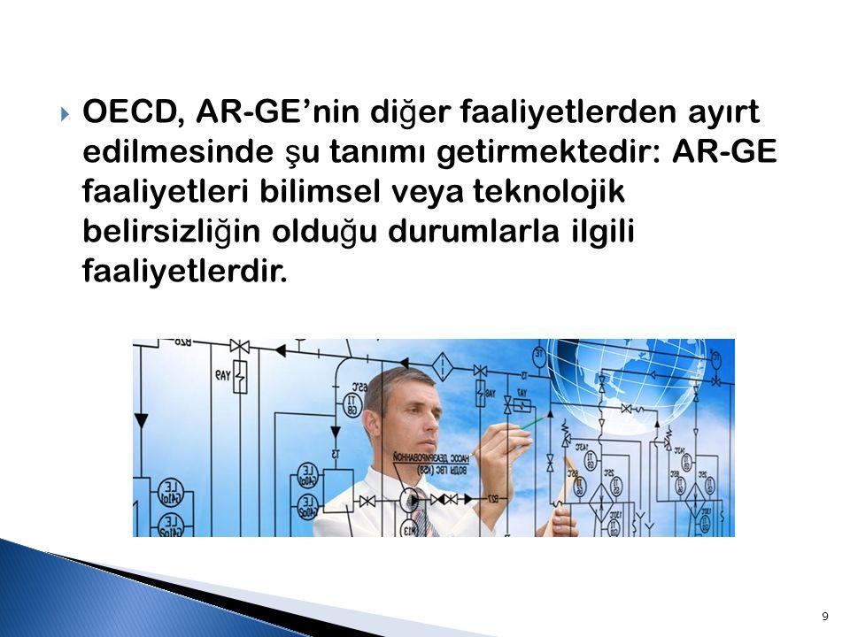 OECD, AR-GE'nin diğer faaliyetlerden ayırt edilmesinde şu tanımı getirmektedir: AR-GE faaliyetleri bilimsel veya teknolojik belirsizliğin olduğu durumlarla ilgili faaliyetlerdir.