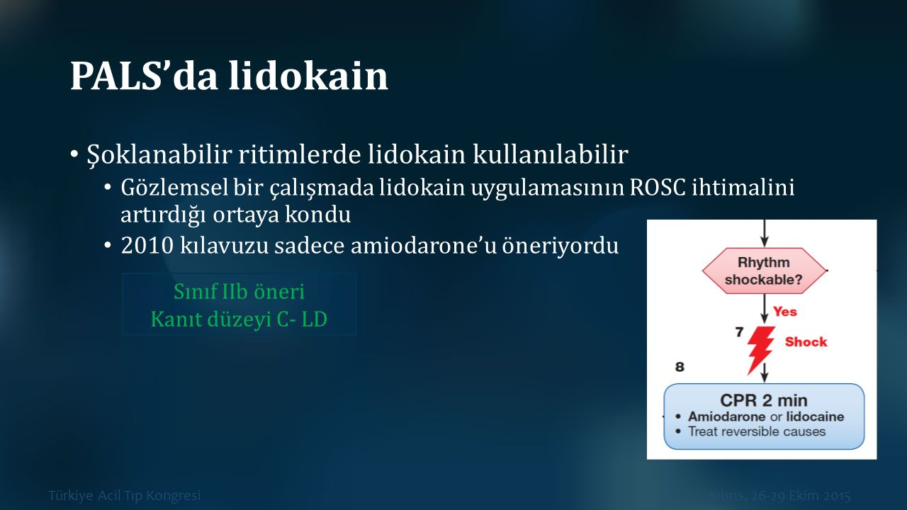 PALS'da lidokain Şoklanabilir ritimlerde lidokain kullanılabilir