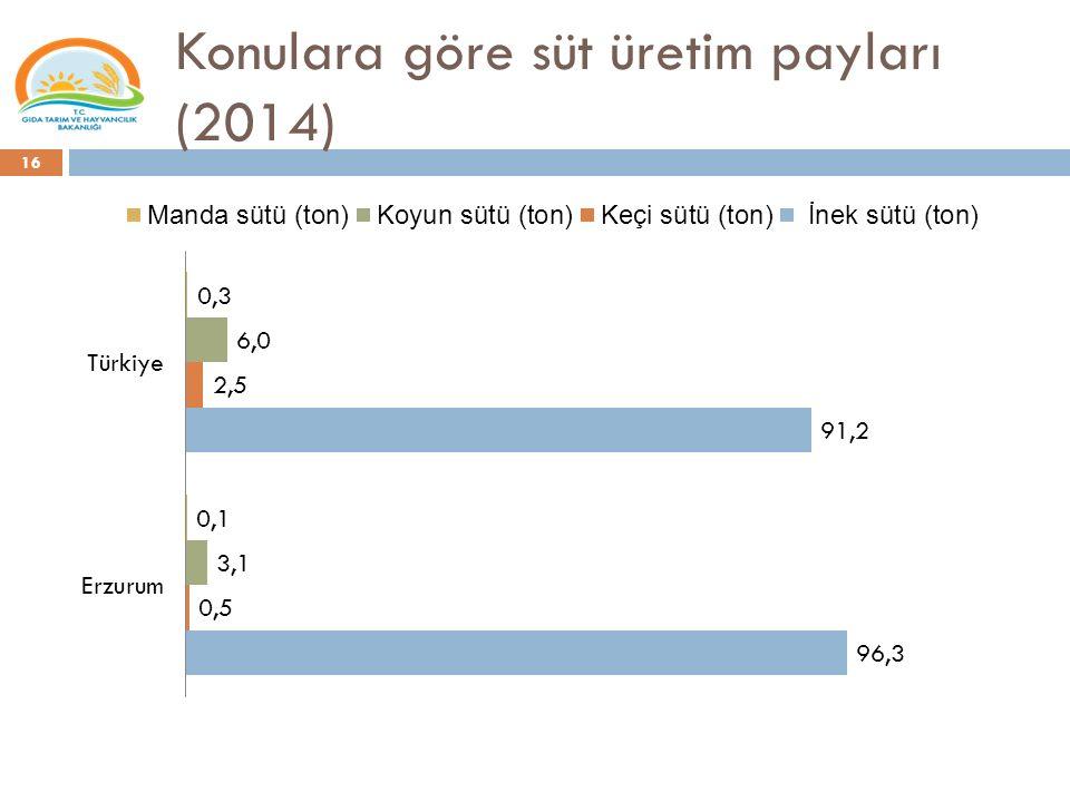 Konulara göre süt üretim payları (2014)