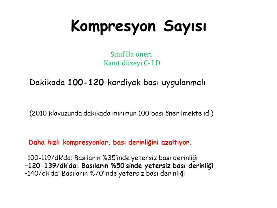 Kompresyon Sayısı Dakikada 100-120 kardiyak bası uygulanmalı