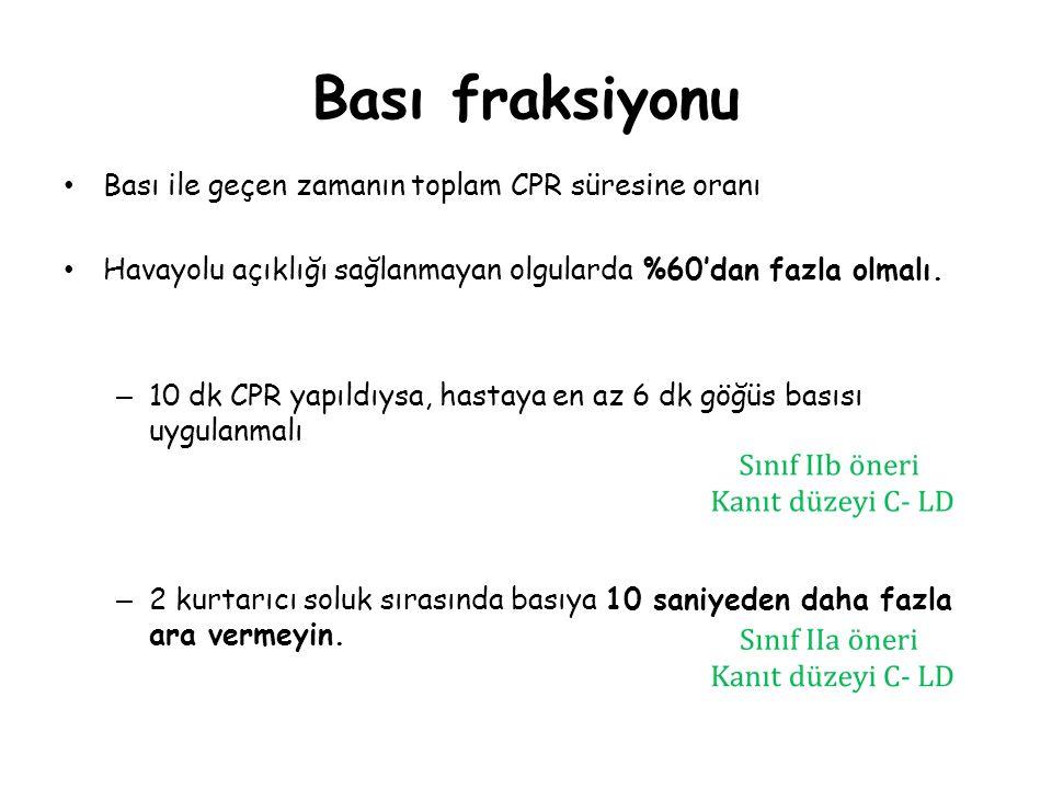 Bası fraksiyonu Bası ile geçen zamanın toplam CPR süresine oranı