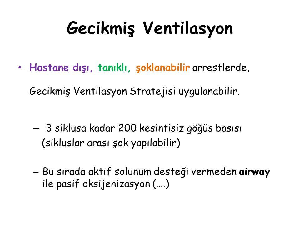 Gecikmiş Ventilasyon 3 siklusa kadar 200 kesintisiz göğüs basısı