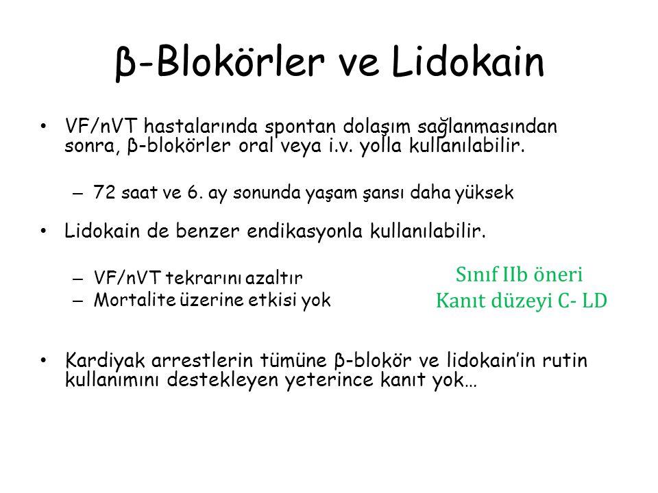 β-Blokörler ve Lidokain