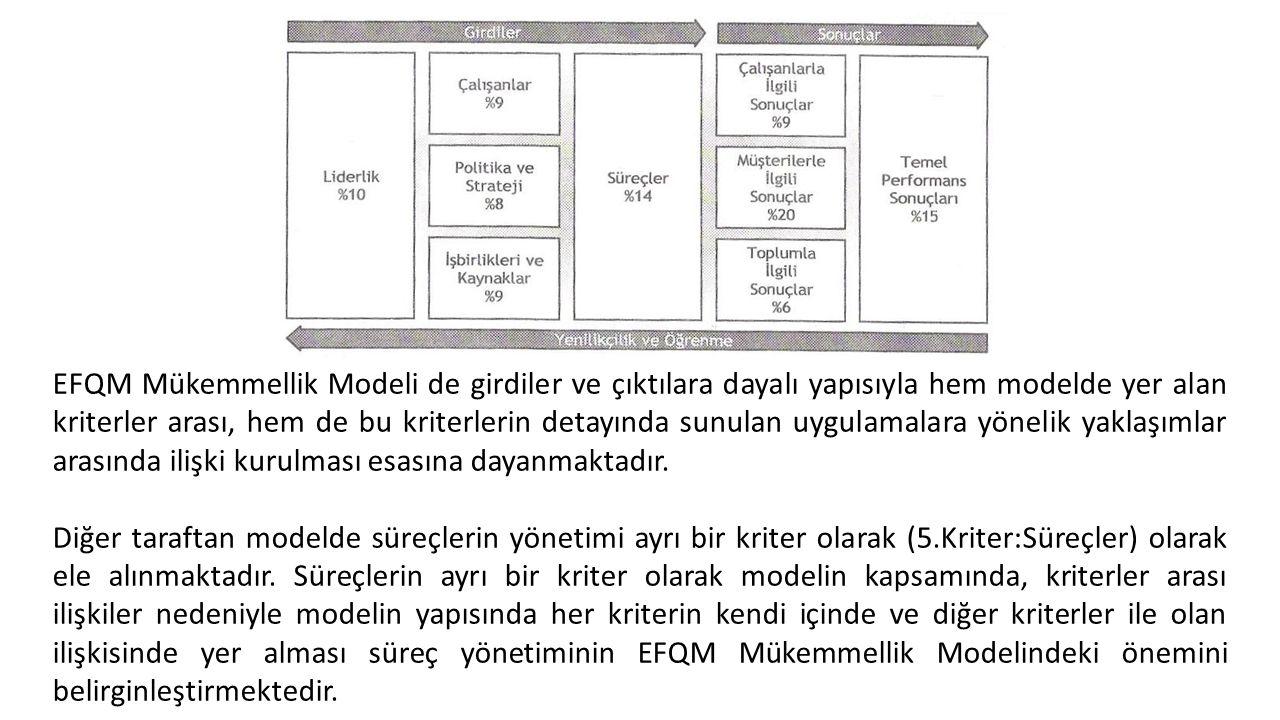 EFQM Mükemmellik Modeli de girdiler ve çıktılara dayalı yapısıyla hem modelde yer alan kriterler arası, hem de bu kriterlerin detayında sunulan uygulamalara yönelik yaklaşımlar arasında ilişki kurulması esasına dayanmaktadır.