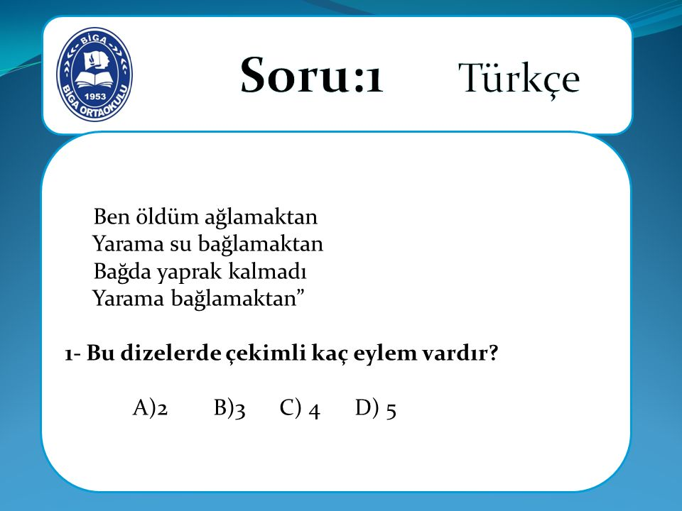 Soru:1 Türkçe Ben öldüm ağlamaktan Yarama su bağlamaktan