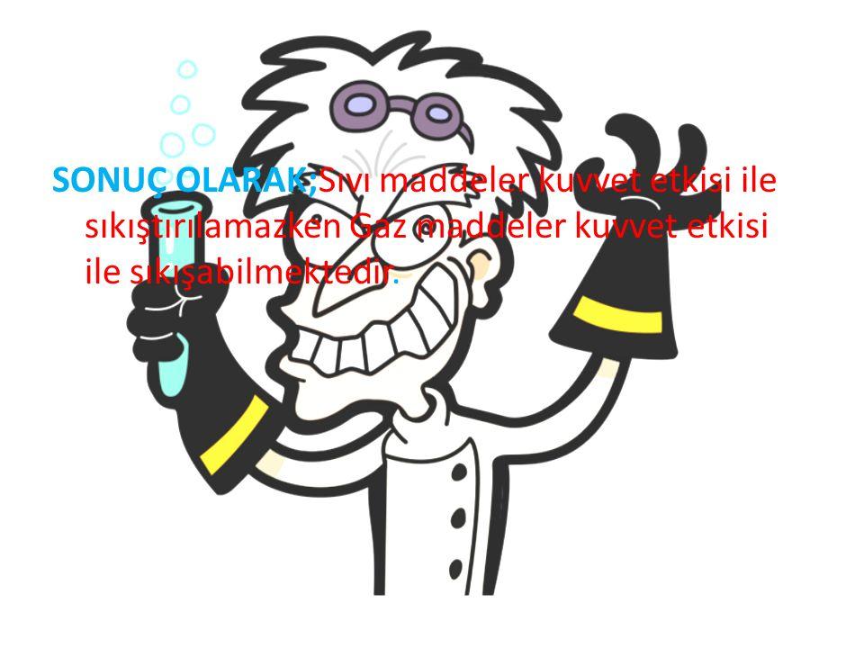 SONUÇ OLARAK;Sıvı maddeler kuvvet etkisi ile sıkıştırılamazken Gaz maddeler kuvvet etkisi ile sıkışabilmektedir.
