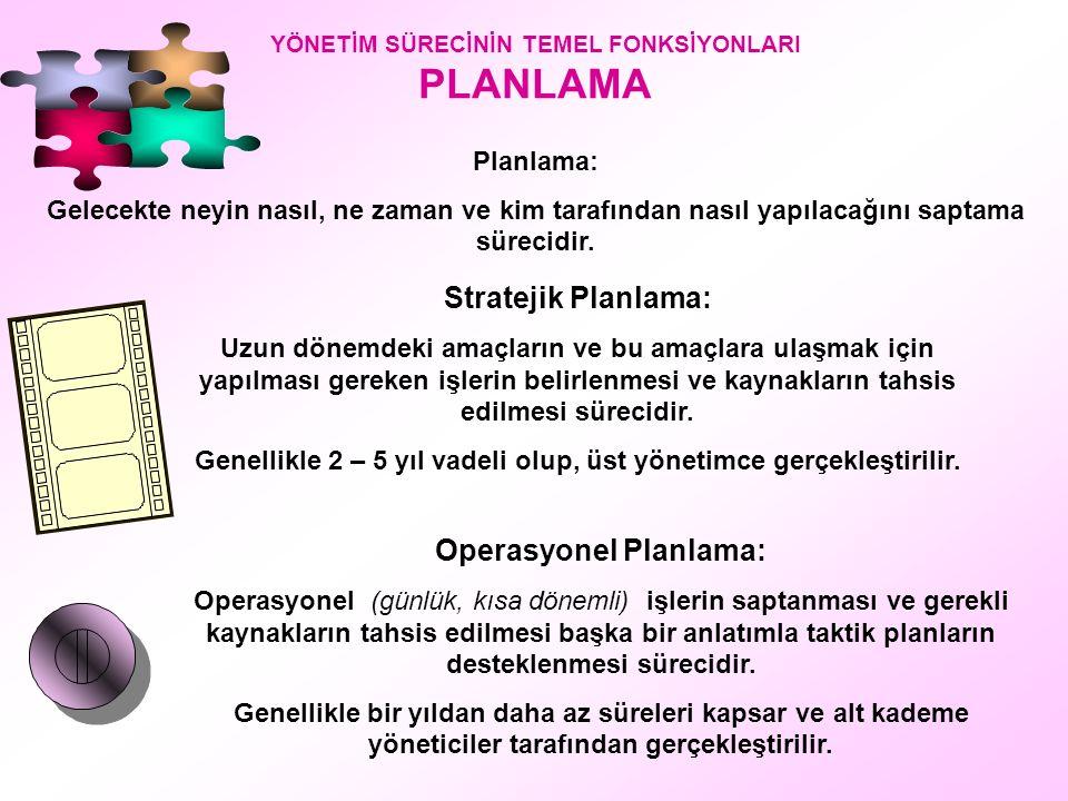 Stratejik Planlama: Operasyonel Planlama: