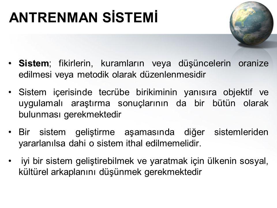 ANTRENMAN SİSTEMİ Sistem; fikirlerin, kuramların veya düşüncelerin oranize edilmesi veya metodik olarak düzenlenmesidir.
