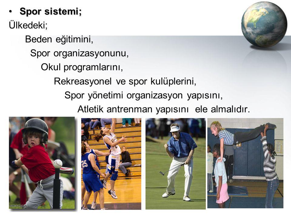 Spor sistemi; Ülkedeki; Beden eğitimini, Spor organizasyonunu, Okul programlarını, Rekreasyonel ve spor kulüplerini,