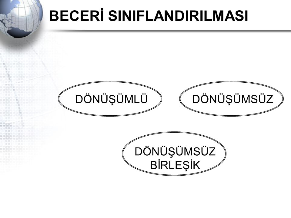 BECERİ SINIFLANDIRILMASI