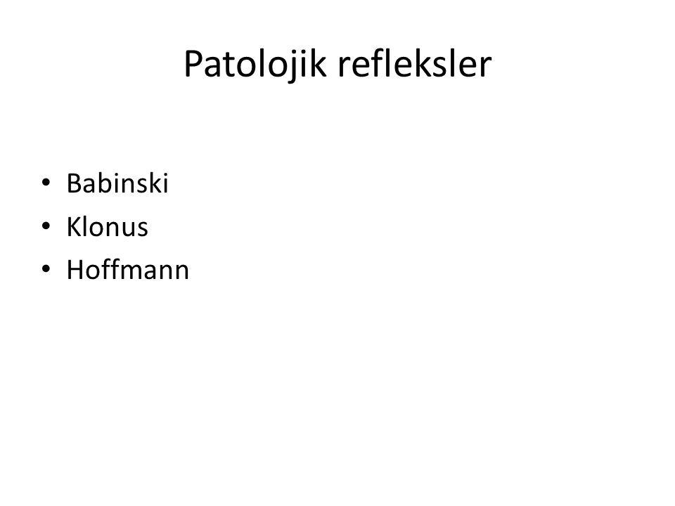 Patolojik refleksler Babinski Klonus Hoffmann