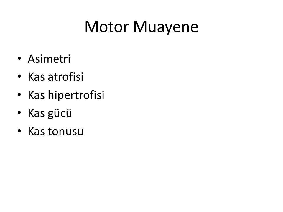 Motor Muayene Asimetri Kas atrofisi Kas hipertrofisi Kas gücü