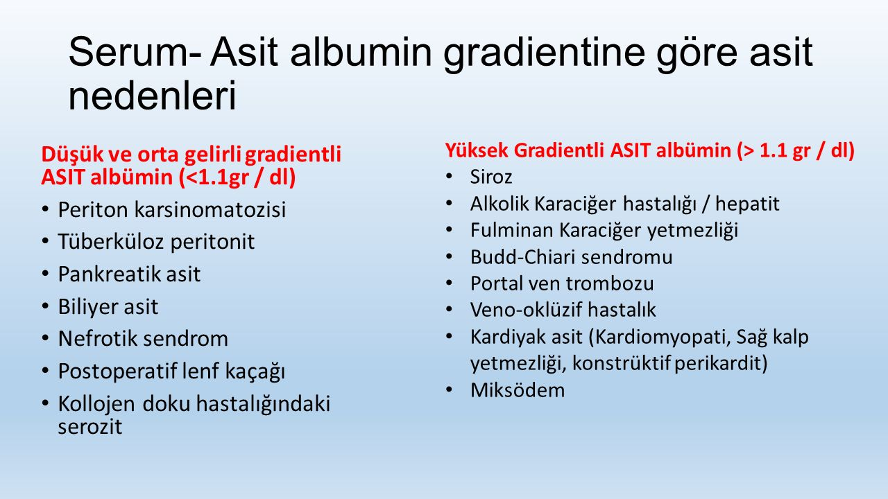 Serum- Asit albumin gradientine göre asit nedenleri