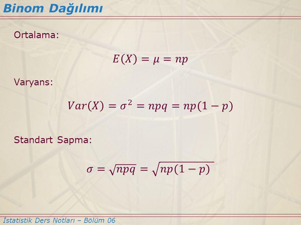 Binom Dağılımı 𝐸 𝑋 =𝜇=𝑛𝑝 𝑉𝑎𝑟 𝑋 = 𝜎 2 =𝑛𝑝𝑞=𝑛𝑝(1−𝑝) 𝜎= 𝑛𝑝𝑞 = 𝑛𝑝(1−𝑝)