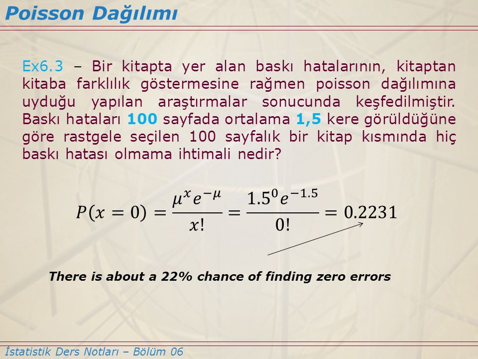 Poisson Dağılımı 𝑃 𝑥=0 = 𝜇 𝑥 𝑒 −𝜇 𝑥! = 1.5 0 𝑒 −1.5 0! =0.2231