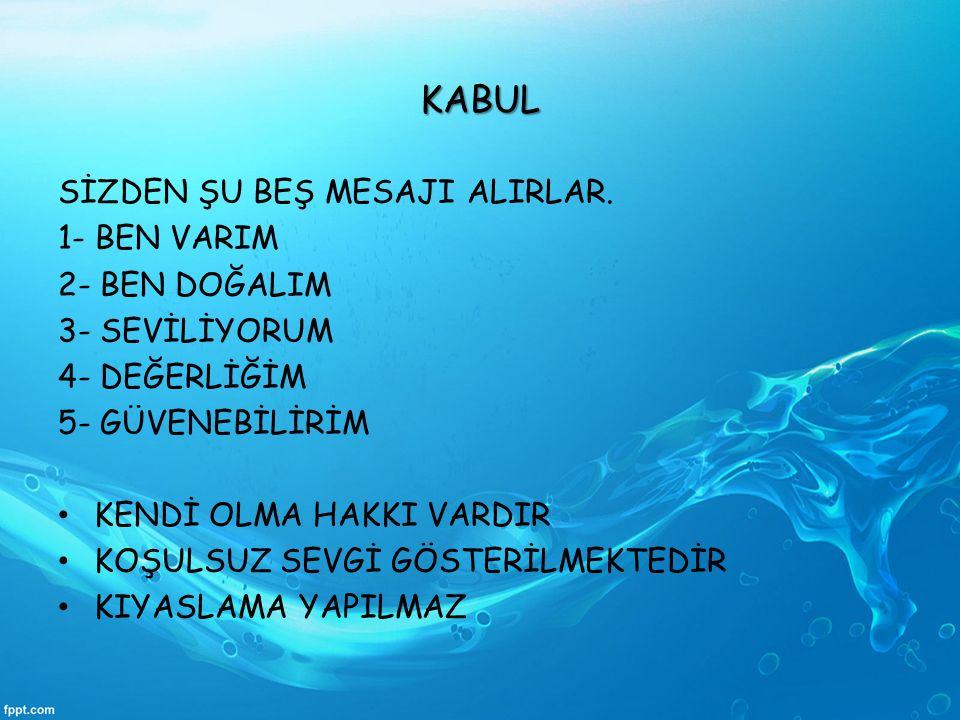 KABUL SİZDEN ŞU BEŞ MESAJI ALIRLAR. 1- BEN VARIM 2- BEN DOĞALIM