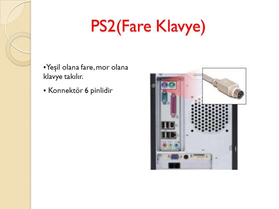 PS2(Fare Klavye) Yeşil olana fare, mor olana klavye takılır.