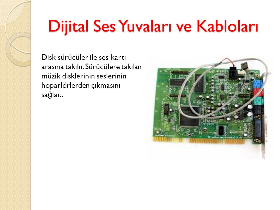 Dijital Ses Yuvaları ve Kabloları