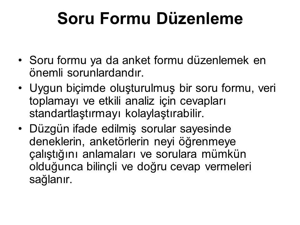 Soru Formu Düzenleme Soru formu ya da anket formu düzenlemek en önemli sorunlardandır.