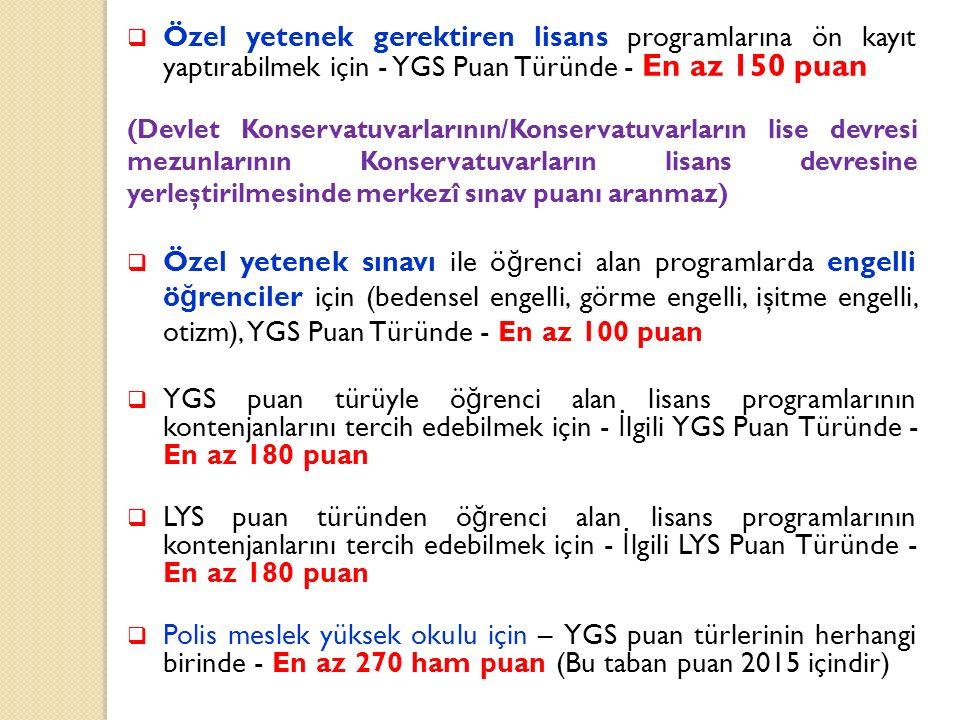 Özel yetenek gerektiren lisans programlarına ön kayıt yaptırabilmek için - YGS Puan Türünde - En az 150 puan