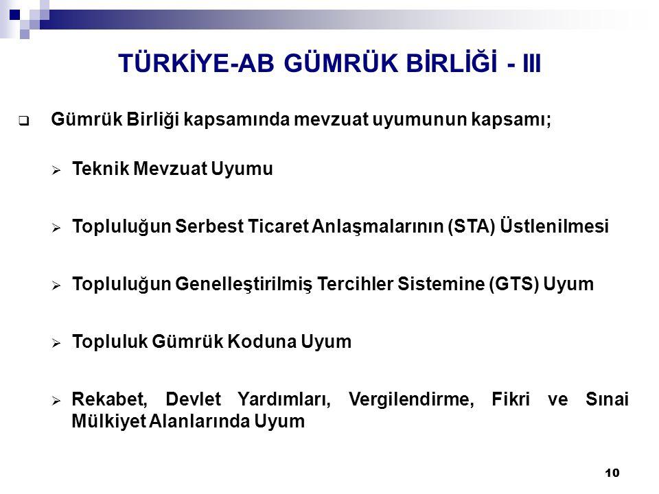 TÜRKİYE-AB GÜMRÜK BİRLİĞİ - III