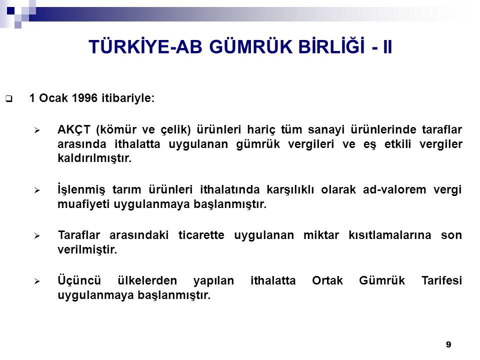 TÜRKİYE-AB GÜMRÜK BİRLİĞİ - II