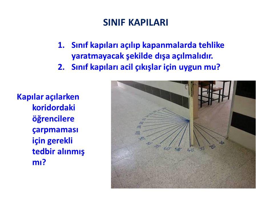 SINIF KAPILARI Sınıf kapıları açılıp kapanmalarda tehlike yaratmayacak şekilde dışa açılmalıdır. Sınıf kapıları acil çıkışlar için uygun mu