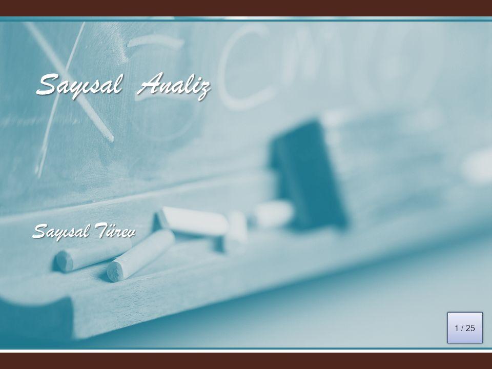 Sayısal Analiz Sayısal Türev