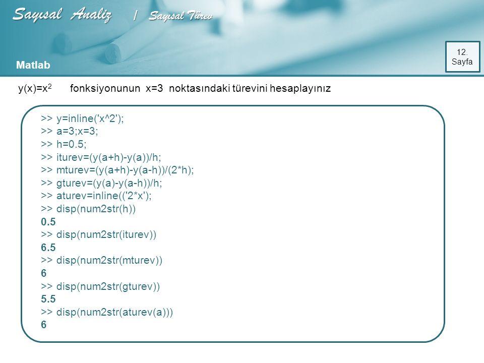 Sayısal Analiz / Sayısal Türev Matlab